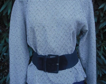 1980s Black and White Checked Blouse / Professional Secretary Blouse