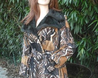 Vintage Faux Leopard Print Coat, Faux FUR Exotic Tiger or Leopard Animal Print Coat, LEOPARD Print