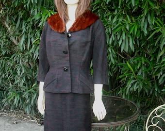 1960s GEORGE CARMEL Suit  W/Mink Collar   Very Jackie Kennedy Chic