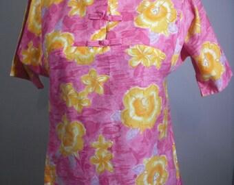 Vintage Royal Hawaiian, 1970s, Hawaiian Print Tunic Blouse, Pink Hawaiian Print Dress,
