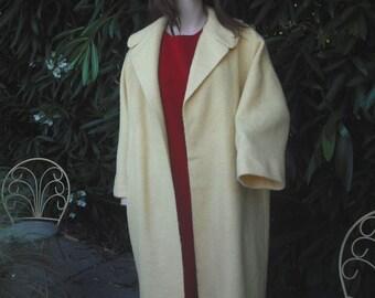 VINTAGE 1950s/60s Swing Coat, Full Length Coat, Dress Coat, Yellow Boucle Coat, Yellow Wool Coat