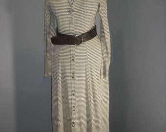 1980s Midi Dress, Stripe Maxi Dress, Long Boho Dress, Gypsy  Med/Large