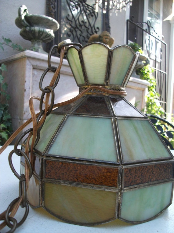 Craftsman Style Stained Glass Hanging Lamp By Klassyklassics
