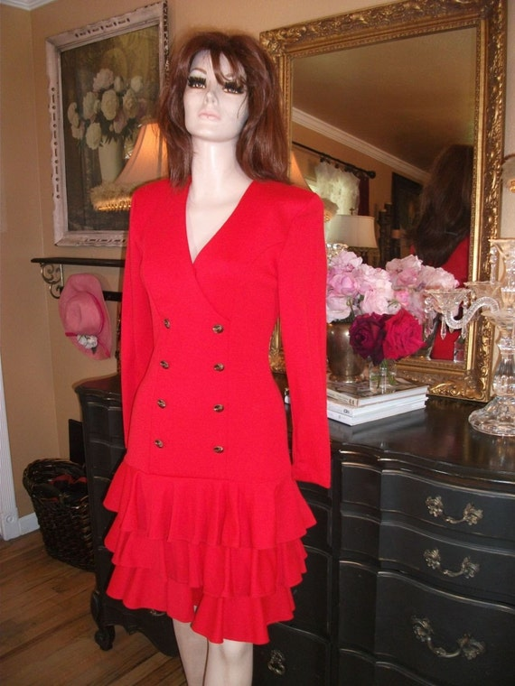 80s Red Flirty Dress Size 8