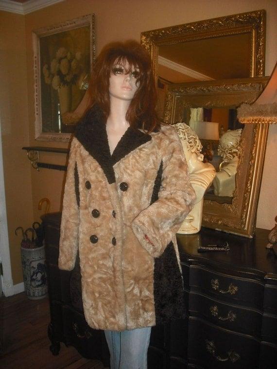 1970's Funky Two Tone Beige and Dark Brown Coat