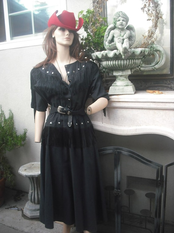 1980's Dance the night away in this Country Western Dress  LILIA SMITTY Black with Silver Details/Fringe  13/14