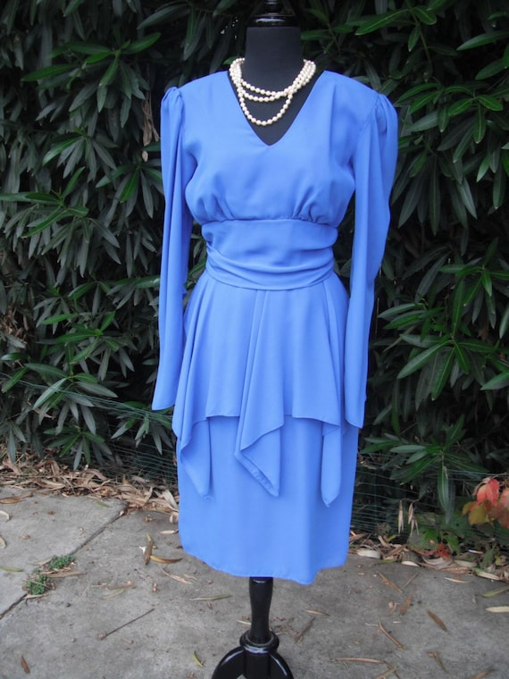 1980s  Royal Blue Chiffon Dress by Sylvia Ann size 10