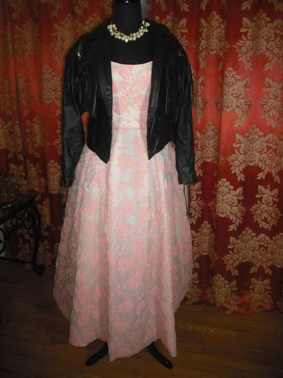 Vintage 50s Emma Domb Gown,  Pink Velvet Embossed Gown, Spaghetti Straps, Prom Dress, Bridesmaid, Party Dress