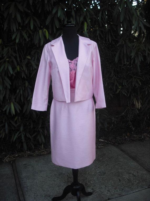 Vintage 1970s Suit, Career Suit, Jr. Theme Original / PINK Suit / Designer Original