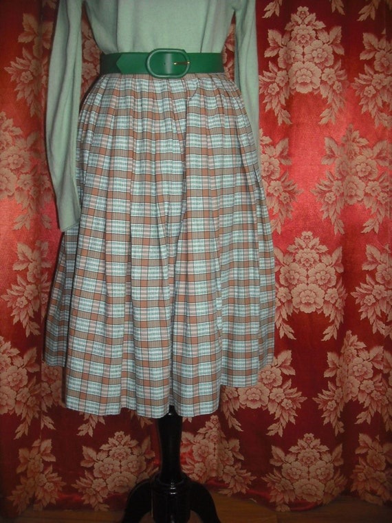 Vintage Pleated Circle Skirt Rockabilly Skirt/Full Skirt