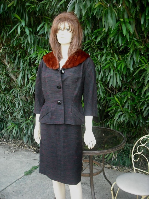 1960s GEORGE CARMEL Suit  W/Mink Collar   Very Jackie Kennedy Chic