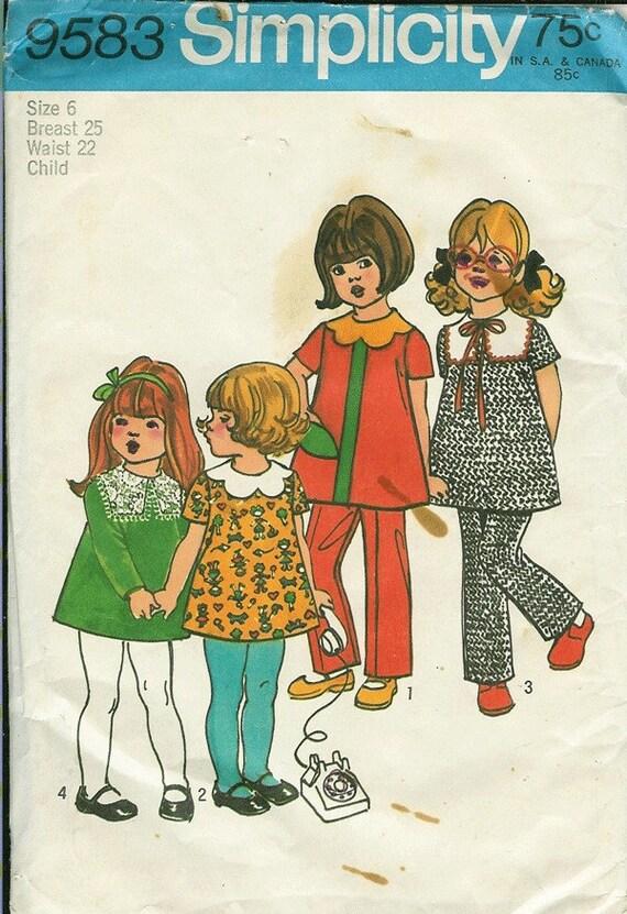 vintage sewing pattern  children dress and pants 1970s UNCUT