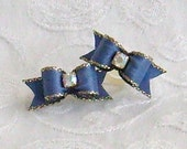 3/8 Periwinkle Blue Gold Edged  Maltese Bows