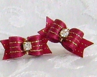 3/8 Dog Bows- Venetian Red and Gold Stripe Maltese Dog Bows