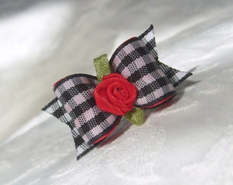 Dog Bow- Gingham Bow in Black