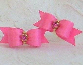3/8 Simply Satin Maltese bows Pink