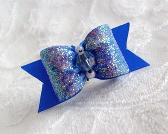 DOG BOW- 5/8 Sugared Satin Dog Bow in Electric Blue