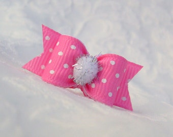 """DOG BOW- 5/8"""" Swiss Dot Snowball Dog Bow in Pink"""