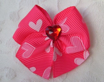 Lotta Love Sweetheart Dog Bow in Hot Pink