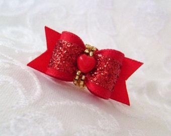 """DOG BOW- 5/8"""" Valentine Heart Sparkle Dog Bow"""