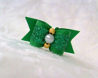 "DOG BOW- 5/8"" St Patty's Sparkle Dog Bow"