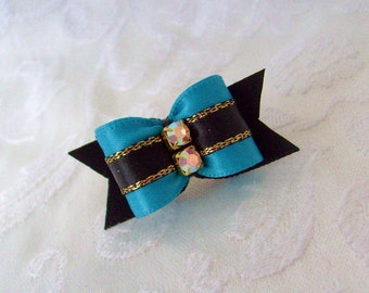 "DOG BOW- 5/8""  Puppy Lux Dog Bow in Sapphire"