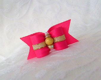 "DOG BOW-  5/8"" Hot Pink & Goldust Glimmer Dog Bow"