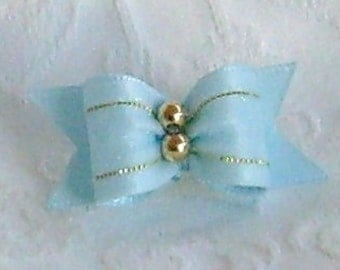 5/8 Blue Organza Shimmer Bow