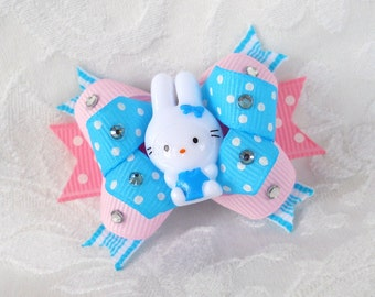 Boutique Dog Bow- Blinged out blue Bunny Easter Boutique Dog Bow