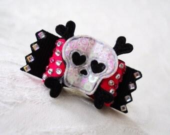 Rockstar Skull Dog Bow in Rockin Pink