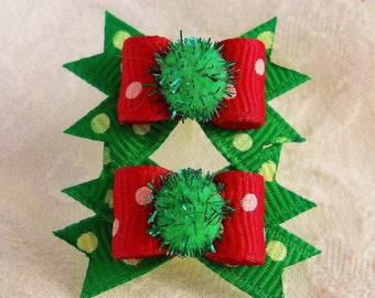 3/8  Christmas Sparkle Dot Maltese pair