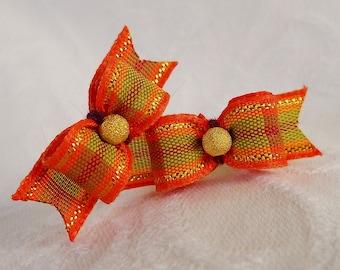 "3/8""  Thanksgiving Golden Plaid Maltese pair"