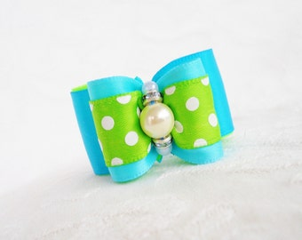 "DOG BOW- 7/8"" Blue Lime Dot Dog Bow"