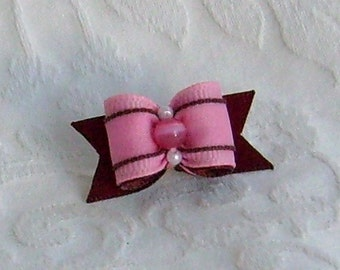 5\/8 Pink and Brown Girlie Bow