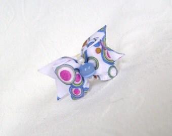 """Dog Bow-  5/8""""  Blue Kaleidoscope Bow"""