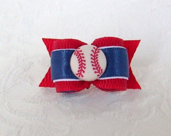 "5/8"" Boston Red Sox Inspired Baseball Bow"