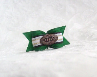 "DOG BOW- 5/8"" Philadelphia Eagles inspired Football Bow"