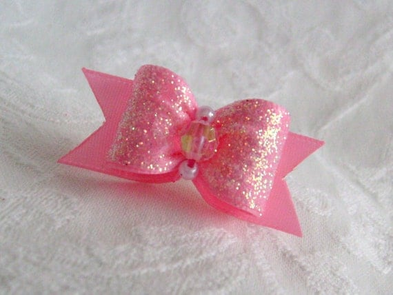 DOG BOW - 5/8 Sugared Satin Dog Bow in Pink