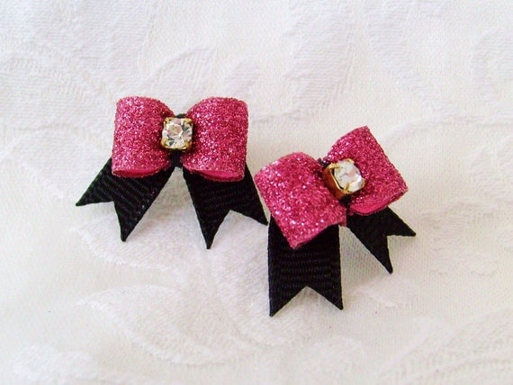 """DOG BOW- 3/8"""" Showtime Sparkle Maltese Dog Bow Pair in Flamingo Pink"""