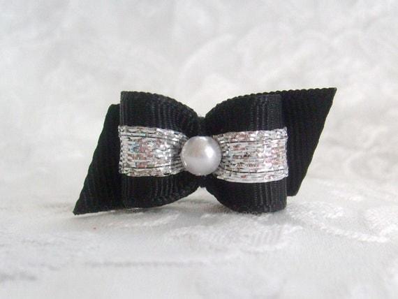 5/8 Pure Elegance Black Tie in Platinum Pearl