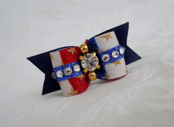 """Dog Bow- 5/8"""" Blinged Out American Pride in Blue Sparkle"""