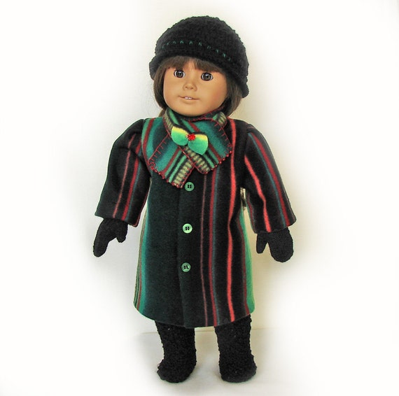 "Doll Ensemble: Fleece Coat and Scarf, Knit Hat, Boots and Mittens / 18"" Doll / American Girl Doll"