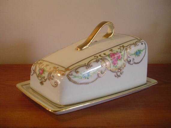 Vintage Signed Nippon Cheese Butter Dish Gilded By