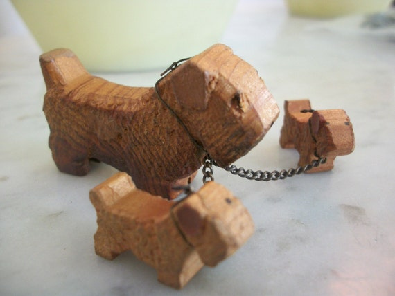 Old Hand Carved Wooden Mini Doggie and Puppys  on Chain