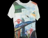 Vintage 50s 60s Atomic Jetsons Age Sputnik Outer Space Ship picture novelty print tshirt shirt