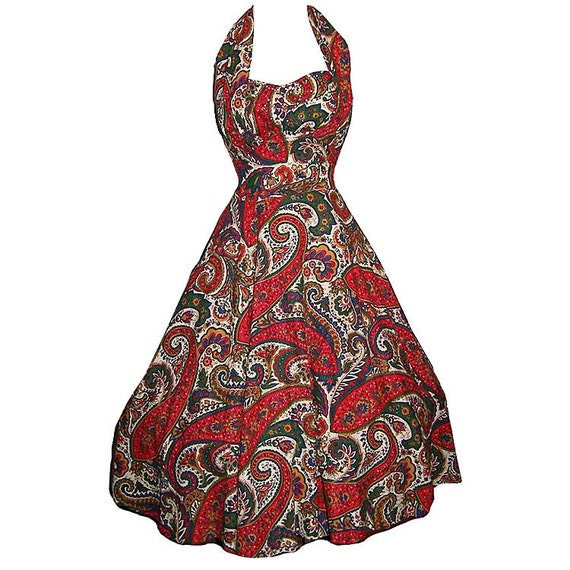 Vintage 50s paisley print full skirt halter shelf bust sun dress L XL