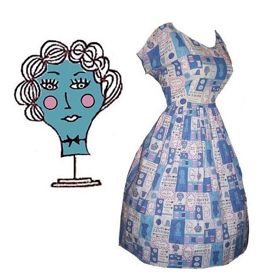 Vintage 50s novelty print French sewing fashion theme day dress L XL