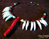 RED RIDING HOOD Real Wolf Teeth Necklace Red Coral Branch Focal Bead by Spinning Castle