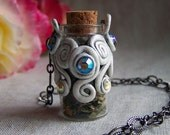 Apothecary Mini Glass Bottle Necklace Faerie Magic Vial Pendant Hawthorn Blossoms MAYBLOSSOM by Spinning Castle