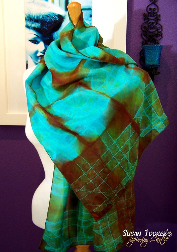 EARTHEN TURQUOISE - Hand Dyed Shibori Silk Scarf by Spinning Castle